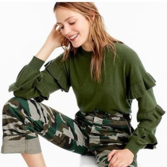 J. Crew Sweaters - J. Crew Ruffle Sleeve Wool Acrylic & Nylon Sweater